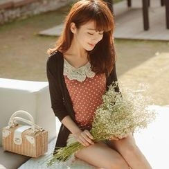 Tokyo Fashion - Inset Cardigan Crochet-Collar Dotted Top