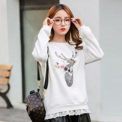 Ashlee - Lace Trim Sweatshirt