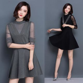 EFO - Mesh-Panel A-Line Dress