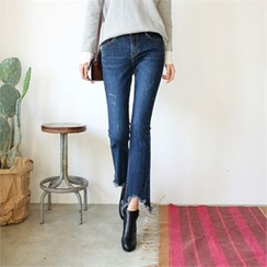 Styleberry - Brushed-Fleece Lined Boot-Cut Jeans