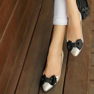 ZDJ Footwear - Bow-Accent Shimmer Pointy Flats