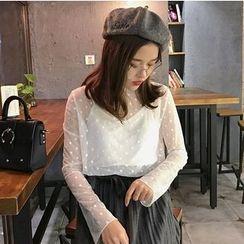 Shopherd - Set: Polka Dot Sheer Long-Sleeve Top + Camisole