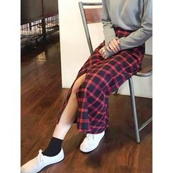 FROMBEGINNING - Asymmetric-Check Maxi Skirt