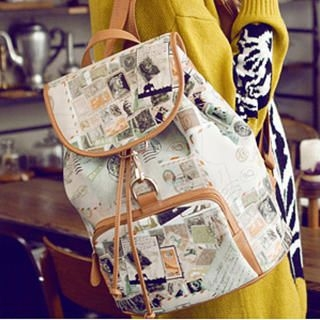 MBaoBao - Map-Print Drawstring Faux-Leather Backpack