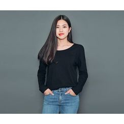 HOTPING - Scoop-Neck Long T-Shirt