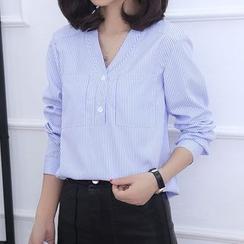 KAKAGA - V领细直条纹衬衫