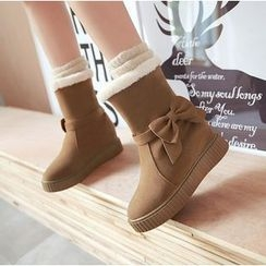 Pastel Pairs - Bow Hidden Wedge Short Snow Boots