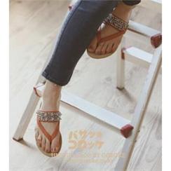GOROKE Rhinestone-Strap Sandals
