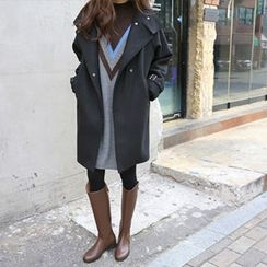 Hello sweety - High-Neck Wool Blend Coat