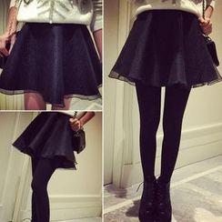 QZ Lady - Tulle Overlay Ruffled Mini Skirt