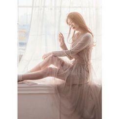 Chlo.D.Manon - Set: Sleeveless Tulle Long Dress + Ribbed Velour Shift Dress