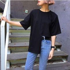 QZ Lady - Elbow-Sleeve Asymmetric T-Shirt
