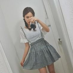 stylebyyam - Set: Frill-Sleeve T-Shirt + Striped Jumper Skirt