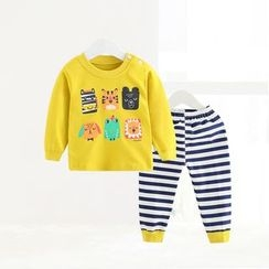 ciciibear - Kids Set: Animal Sweatshirt + Stripe Pants