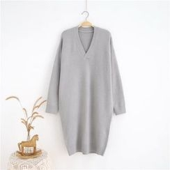 Janseed - Long-Sleeve Plain Knit Dress