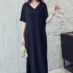 Sienne - Elbow Sleeve V-Neck Maxi T-Shirt Dress