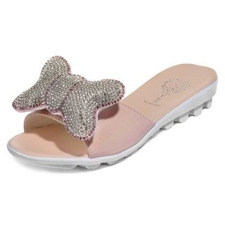 yeswalker - Rhinestone Bow Slide Sandals