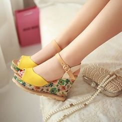 YOUIN - Floral Printed Ankle Strap Wedge Sandals
