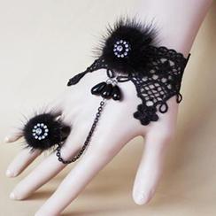 Fit-to-Kill - 蕾丝水貂毛水钻手链戒指套装
