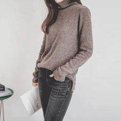 JUSTONE - Turtle-Neck Mélange Furry-Knit Top