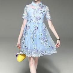 Alaroo - 套裝: 短袖刺繡薄紗連衣裙 + 繫帶連衣裙
