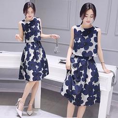 Ashlee - Set : Floral Print Sleeveless Top + Skirt