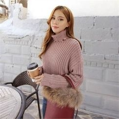 QNIGIRLS - Turtle-Neck Distressed Sweater