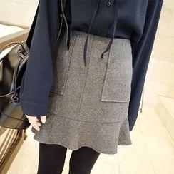 mimi&didi - Ruffle-Hem Wool Blend Mini Skirt