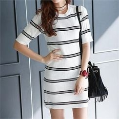 PEPER - Short-Sleeve Striped Dress