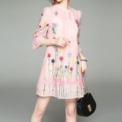 Alaroo - Embroidered Bell-Sleeve Dress