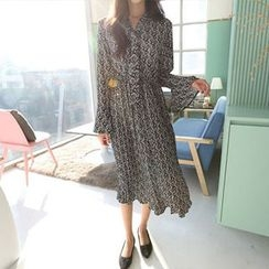 Hello sweety - Tie-Neck Patterned Dress
