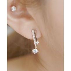 Miss21 Korea - Full-Rhinestone Bar Earrings