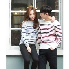 MEOSIDDA - Couple Striped Knit Top