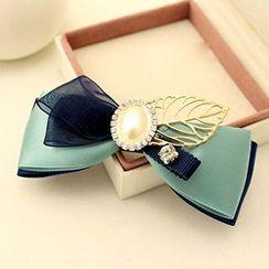 Suu - Faux Pearl Bow Alligator Hair Clip / French Barrette Hair Clip / Hair Tie