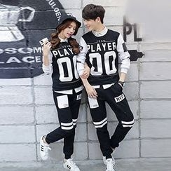 Lovebirds - Set: Lettering Couple Top + Sweatpants