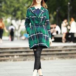 S. Tornado - Notched-Lapel Plaid Snap-Button Coat