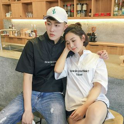 Evolu Fashion - Couple Matching Short-Sleeve Lettering Shirt