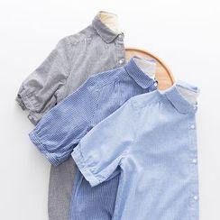 Rosadame - 細條紋短袖襯衫連衣裙