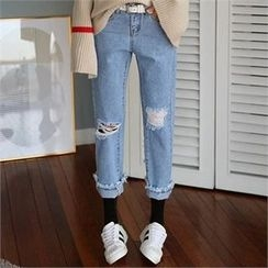 CHICFOX - Distressed Straight-Cut Jeans