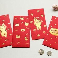 YUNO - Cat Print Red Pocket Set