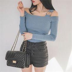 ERANZI - Buttoned Faux-Leather Shorts