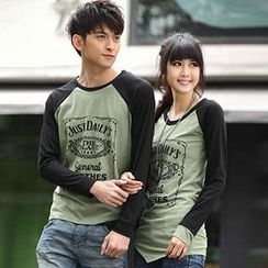 Igsoo - Couple Contrast Color Print T-Shirt