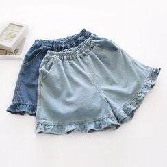 Bonbon - Ruffle Trim Denim Shorts