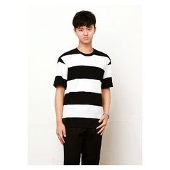HOTBOOM - Round-Neck Elbow-Sleeve Rugby-Stripe T-Shirt