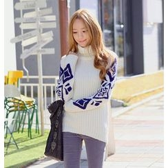REDOPIN - Turtleneck Rib-Knit Sweater