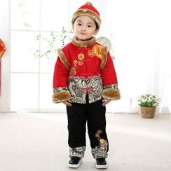 Emperial - Kids Set: Furry Trim Frog Button Embroidered Top + Pants + Hat
