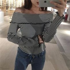 Alfie - Off-Shoulder Frilled Striped Long-Sleeve T-Shirt