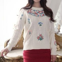 Tulander - Flower Embroidered Cable Knit Sweater