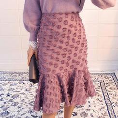 chuu - Fringed Polka-Dot Mermaid Skirt