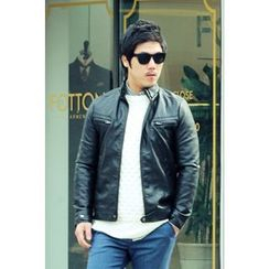 Ohkkage - Faux-Leather Biker Jacket